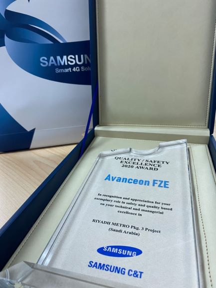 Samsung C&T Recognizes Avanceon's Exemplary Performance on the Riyadh Metro Project